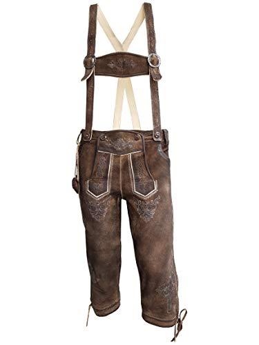 Herren Trachten Lederhose mit Träger, Dunkelbraun, Büffel Leder, Charisma Kniebund (52, Dunkelbraun)