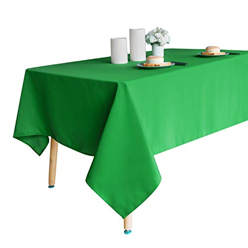 Obstal 210GSM Rectangle Table Cloth, Water Resistance Microfiber Tablecloth, Decorative Fabric Table Cover for Outdoor and Indoor Use (Green,60 x 84 Inch)