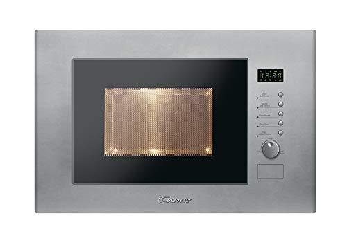 Candy MIC20GDFX Microondas integrable con grill, 10 programas, display digital, plato giratorio 24,5 cm, potencia 800 W-1000 W, 1250 W, 20 litros, Acero, gris