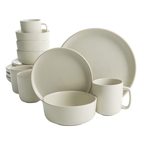 Gibson Home Zuma 16 Piece Round Kitchen Dishes, Plates, Bowls, Mugs Dinnerware Sets, Service for Four (16pcs), Cream/Pistachio