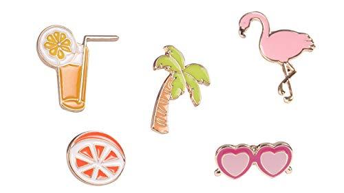 Beyond Brosche/Anstecknadel/Pins aus Metall - 5 Stück Set - Palme, Cocktail, Sonnenbrille, Flamingo