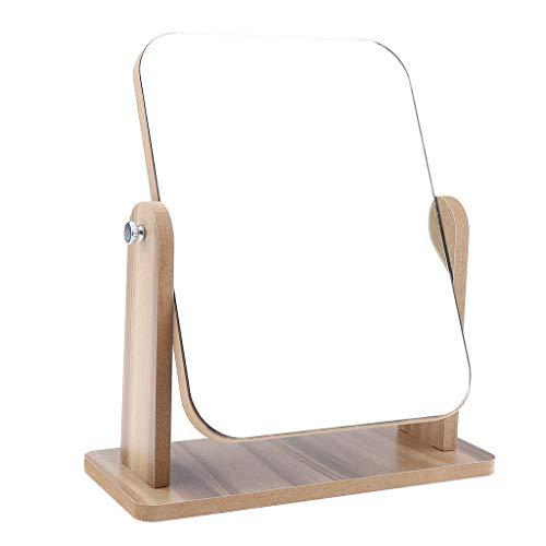 Homyl Miroir de Vanité de Maquillage pour Table en Bois Amovible Miroir de Voyage Réglable à 360 Pliable Portable pour Voyage Campin - 22x17 cm