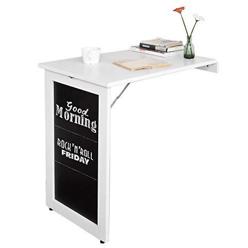 SoBuy® Tavolo da Muro Pieghevole,con Lavagna,75 * 50 cm, Bianco, FWT20-W,IT