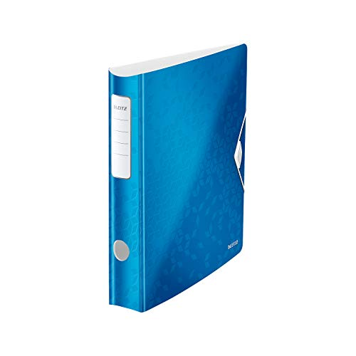 Leitz 11070036 Multifunktions-Ordner (A4, Runder Rücken (6, 5 cm Breite) Gummibandverschluss, Kunststoff, WOW) blau metallic