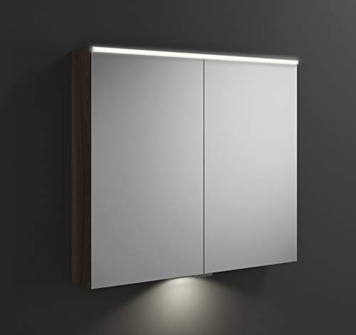 Burgbad Eqio Spiegelschrank mit Horizontaler LED-Beleuchtung und LED-Waschtischbeleuchtung SPGT090, Breite: 900mm, Korpus: Marone Dekor Trüffel - SPGT090F2012