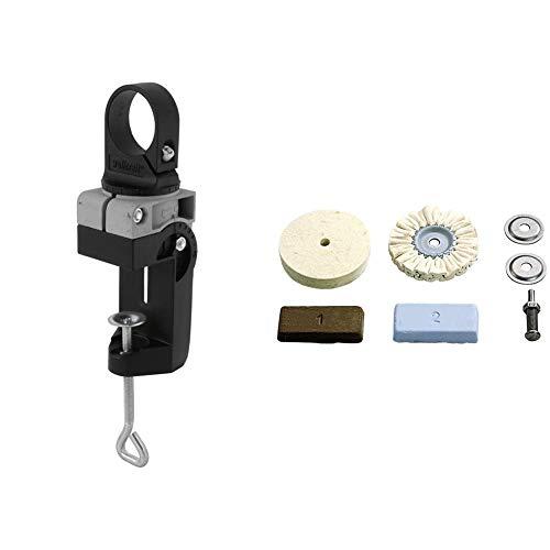 Wolfcraft 4800000 Soporte para taladros metálico Ø 43 mm Pack 1 + 2178000 Juego hobby de pulido para metales, plástico, marmol