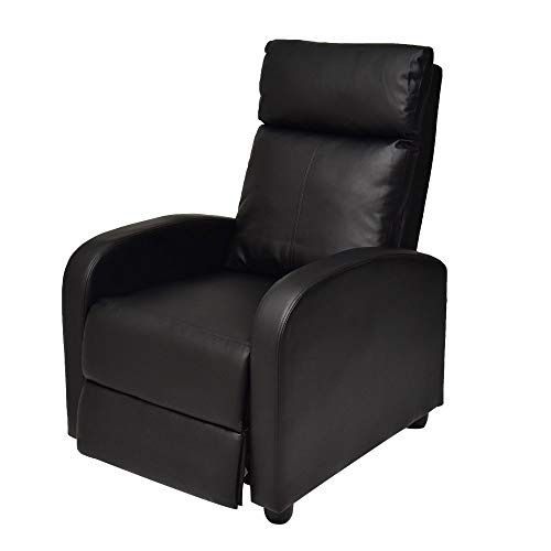 Single Adjustable Sofa Club Recliner Chair Home Theater Seating with Thick Cushion and Backrest PU Leather - Black