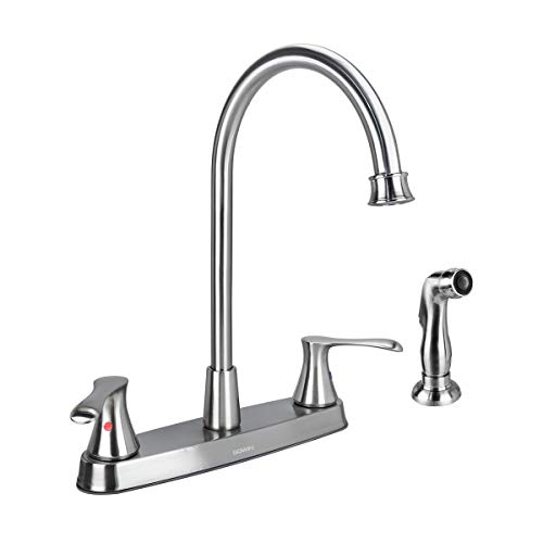 GOWIN Brushed Nickel Kitchen Faucet with Side Sprayer, Two Handle High Arc 4 Holes 8 Inch Centerset Stainless Steel Kitchen Sink Faucet with Pull Out Sprayer Hawaii