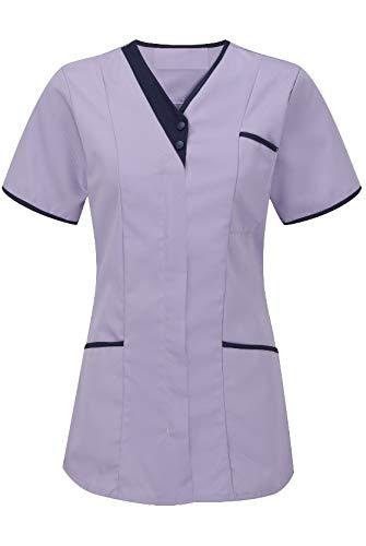 Instex Womens Asymmetrische Tuniek met Contrast Trim, tandarts dierenarts ziekenhuis schoonheidssalon, INS33LI
