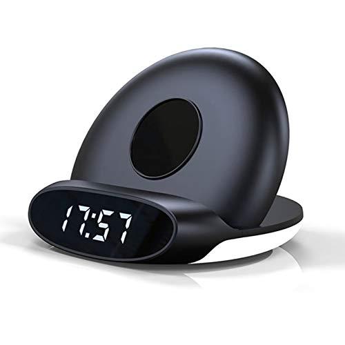 DZHTWSRYGR Cargador inalámbrico Soporte Lámpara de cabecera Reloj Despertador Tablero de Carga Cargador para iPhone 11 Pro, Samsung S20 Xiaomi