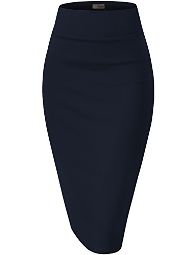 Hybrid & Company Womens Pencil Skirt for Office Wear KSK43584 1139 Navy XLarge