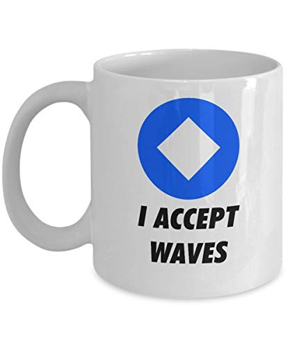 Officiell I Accepterar Waves kryptovaluta mugg akryl kaffehållare vit 325 ml kryptovuvarbetare blockkedja investering handel köp sälj håll vågor
