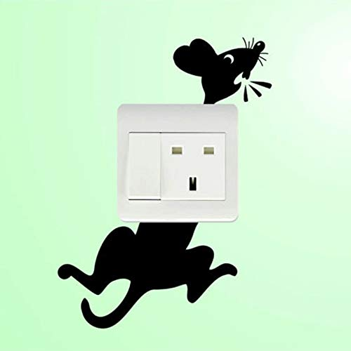 Light Switch Socket Wall Sticker Decal Home Decor Funny Cat Mouse Animal Sticker 3SS0044