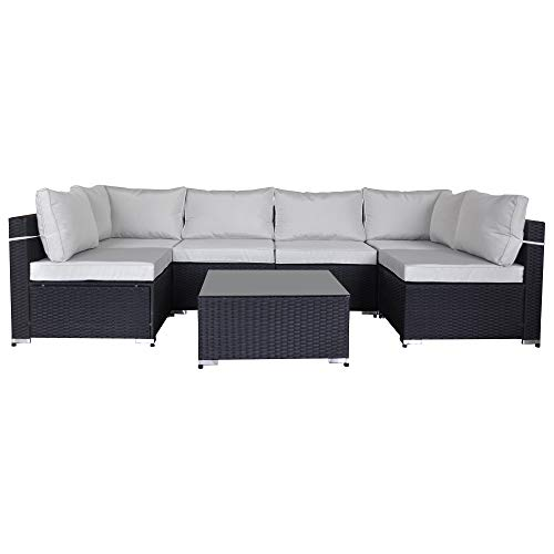 SUNVIVI OUTDOOR 7 Piece Outdoor Patio Furniture Sets, All Weather Black PE Wicker Furniture Set, Patio Sectional Conversation Sofa Set with Coffee Table, Removable Warm Grey Cushions