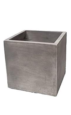 Foto di Vaso per piante, vaso da fiori in cemento leggero Quadrato Light Cement Cube 20Antique Grey von blumenkuebelxxl