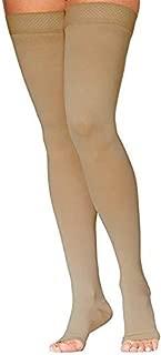 SIGVARIS Women's DYNAVEN Open Toe Thigh-Highs w/Grip-Top 20-30mmHg