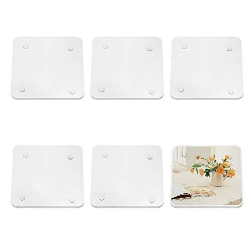PandaHall 6 Pezzi 10 cm sottobicchieri in Acrilico Trasparente Personalizzati Antiscivolo per Uso Domestico, bomboniere e bomboniere, 10x10x0,65 cm