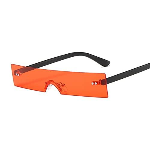 YUZHUKKKPYZ MJ - Gafas de sol para mujer, diseño cuadrado pequeño, color rosa, negro, transparente, lente de una sola pieza para mujer, color rojo