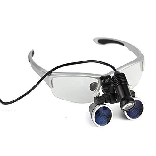 Lupa de 3,5 x 420 mm para cirugía dental, lupa binocular, lupa de diadema manos libres, con faros LED, con práctico estuche de transporte, para pasatiempos, electricistas, joyeros, costura, manualida