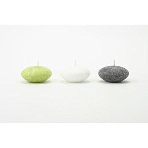 Lot de 3 bougies flottantes parfumées Zen - Vert, ardoise et blanc