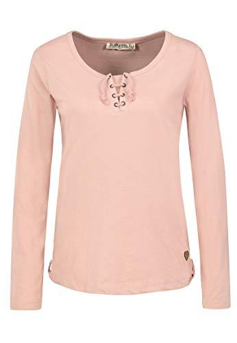Sublevel Damen Basic Langarm-Shirt mit Kordeln Rundhals Light-Rose XS