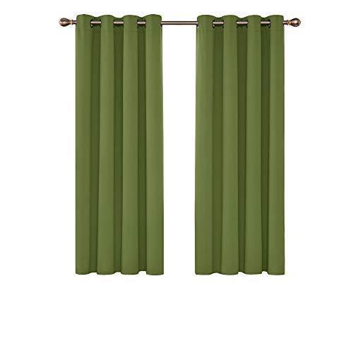 Deconovo Cortinas Opacas Térmicas Aislantes para Ventanas de Habiatción con Ollaos 2 Piezas 132x114cm Verde