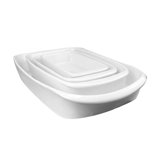 Set of 4 Porcelain Oven To Table Dishes | White Serving Dish Set | Cooking / Baking Dish for Lasagne, Casserole etc. | M&W