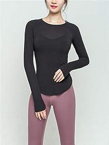 LPudding Rápido Secado de la Ropa Ropa de Ejercicio de Yoga Apretada Alrededor del Cuello Delgado de Manga Larga y Delgada Camisa Corriente Movimiento de Tocar Fondo, Negro, M