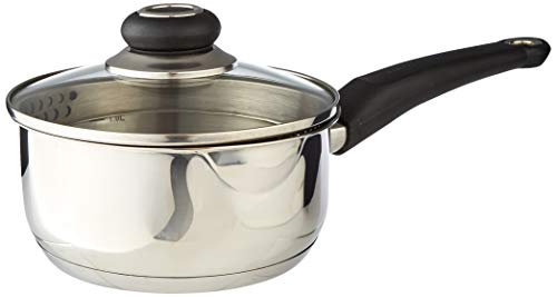 Morphy Richards 970112 Equip Induction Pouring Saucepan with Glass Lid, Stainless Steel, Stay Cool Handles, 16 cm