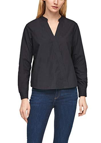 s.Oliver Damska bluzka bawełniana o wyglądzie zawiniętym, czarny, S
