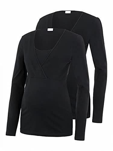 MAMALICIOUS MLLEA ORGANIC TESS L/S TOP NF 2PACK, T-Shirt À Manches Longues - Maternité Femme, Noir (Black), 38 (Taille fabricant: Medium)