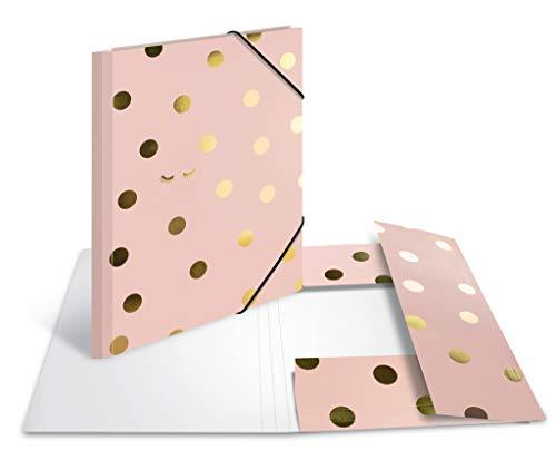 HERMA 19729 Sammelmappe DIN A4 GLANZvoll Dots aus stabilem Karton mit bedruckten Innenklappen, Gummizugmappe, Eckspanner-Mappe, 1 Zeichenmappe für Kinder