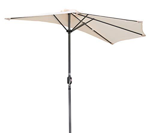 Angel Living 270cm Halbrund Sonnenschirm, Marktschirm,Terrassenschirm mit Kurbel für Garten,Terrassen, Höfe,Schwimmbäder,mit UV-Schutz 40+ Elfenbein