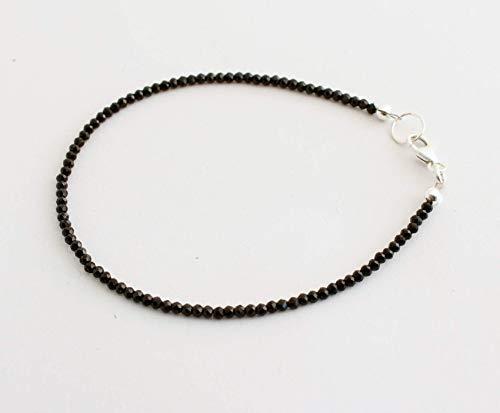 Spinell Edelstein Armband (ca.18 cm lang, facettiert, schwarz, Neu, Edel, Edelsteinarmband)