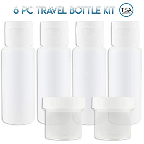 2oz Travel Bottles Set (4 Pcs) With Cosmetic Containers (1 oz) - Portable 100% Leak Proof Refillable Toiletry Containers - Squeezable Tubes for Shampoo, Conditioner & lotion