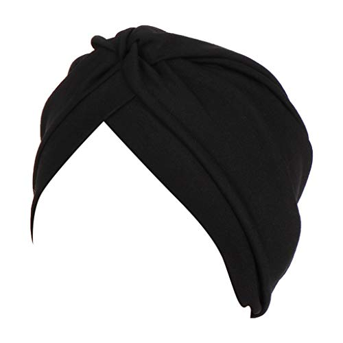 RISTHY Pañuelos Oncologicos para Mujer, Gorros Bufanda India Musulmán Abaya Turbante Color Sólido Sombrero Plisado Elástico Yoga Bambú para Quimioterapia