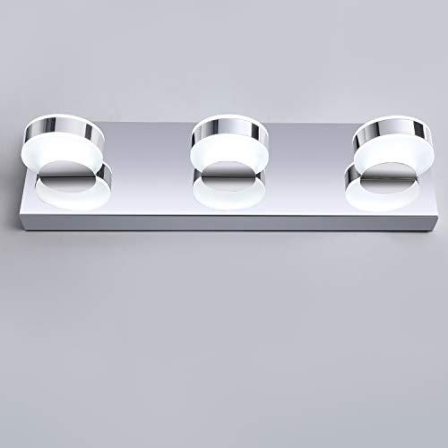 OOWOLF LED Bathroom Vanity Lights, 17.12 inches 10W 3-Light 6000K Modern Mirror Gloss Finishing Stainless Steel LED Vanity Light Fixtures Acrylic Shade for Dressing Table, Art Display, Room Detor