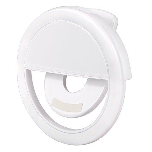 Olliwon Selfie Light Ring, Selfie Lampada Ring Light Led Illuminazione Supplementare Anello Led Selfie 3 Livelli di Luminosità per iPhone Samsung - Bianco