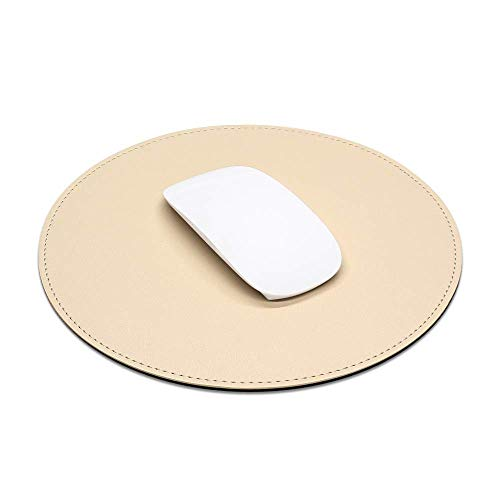 ProElife Premium Cute Round Mouse Pad Mat Waterproof PU Leather 8.66-Inch Mousepad with Anti-Skid Base Stitched Edge for Home Office Gaming Computer Laptop Accessories (8.66 inch, Apricot)