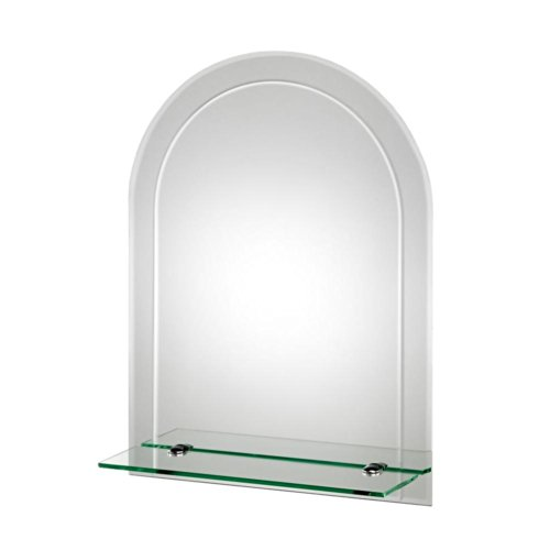 Croydex Fairfield Bevelled Edge Arch Wall Mirror 24-Inch x 18-Inch with Shelf and Hang 'N' Lock Fitting System
