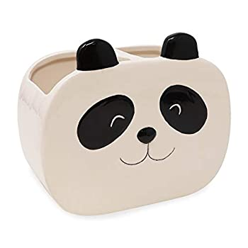 Isaac Jacobs Black and White Ceramic Panda Makeup Brush Holder Multi-Purpose 2-Section Organizer Bathroom Kitchen Bedroom Office Décor  2-Section Cup Panda