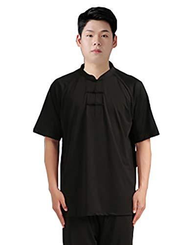 Camiseta de manga corta Qi Gong unisex, Negro , XXXL