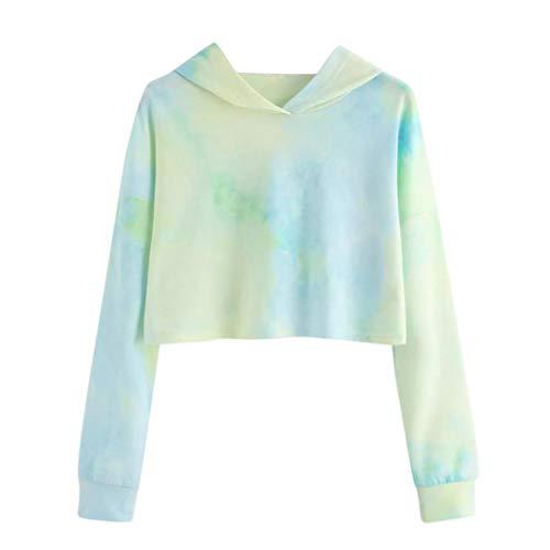 TWIFER Damen Hoodie Gedruckt Patchwork Sweatshirt Langarm Crop Pullover Tops Bluse