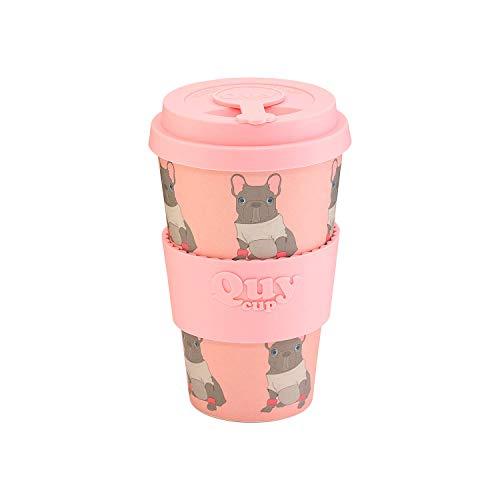 QUY CUP. Break Dance. Kaffeebecher to Go, Travel Mug, Bamboo Cup als Mehrweg Tasse für unterwegs, Coffee to go Becher, nachhaltiger Becher mit Deckel und Silikonmanschette, 400ml
