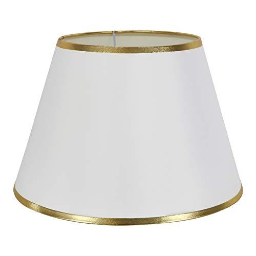 DULEE, lampada da tavolo, 6,3 cm, paralume per comodino, lampada da parete, Bianco con bordo dorato., (Top)7  x (Höhe)7.9  x (Unterseite)12