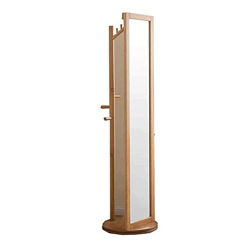 Europese retro 360 graden rotatie staande spiegel vloergarderobe hout slaapkamer woonkamer studie E C