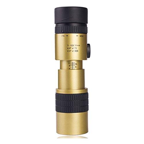 LFIM -Reflectores Telescopio 7 Veces 60 Veces-telescopio del zumbido no de Infrarrojos de visión Nocturna de Alta definición Concierto monocular Glasses Telescopio (Color : Gold)
