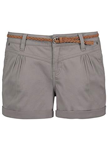 Sublevel Damen Kurze Hose Stretch-Shorts mit Flecht-Gürtel Light-Grey...