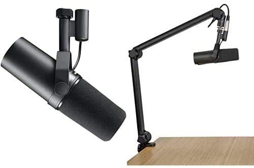 Shure SM7B Vocal Dynamic Microphone + Gator 3000 Boom Stand for Broadcast, Podcast & Recording, XLR...