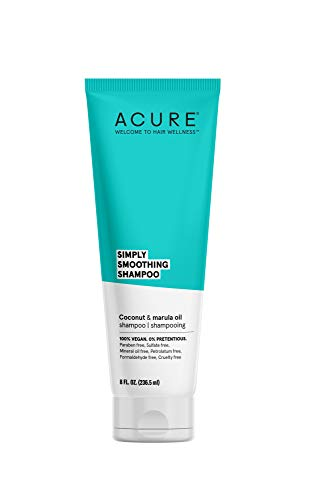 Acure Simply Smoothing Shampoo, Water, Coconut & Marula Oil, 100% Vegan, Performance Driven Hair Care, Smooths & Reduces Frizz, White/Blue, 8 Fl Oz